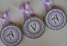 "Scallop Edge Round Wood Nursery Wall Letters - Purple and Grey Chevron ""Ava"". $14.00, via Etsy."