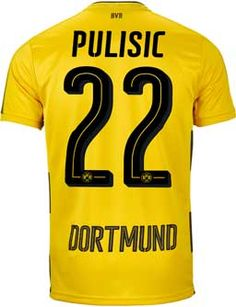 2ca6ddabd Buy the 2017 18 Puma Pulisic Dortmund Home Jersey from SoccerPro now. Soccer  Gear