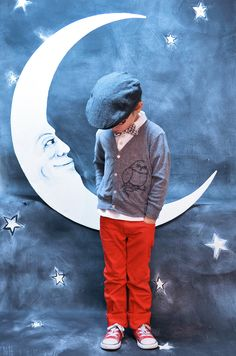 I love the moon backdrop. This little guy makes me think of jay jaco for some reason. Probably the hat. Too cute.