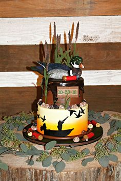 Duck Hunting Wedding, Duck Hunting Cakes, Hunting Birthday Cakes, Hunting Party, Boys 1st Birthday Party Ideas, 1st Boy Birthday, Groomsman Cake, Boat Cake, Duck Cake