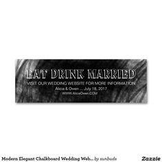 Modern Elegant Chalkboard Wedding Website Cards Double-Sided Mini Business Cards (Pack Of 20)