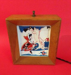 Vintage Red Riding Hood Lamp with Raised Plastic Scene by Giddies