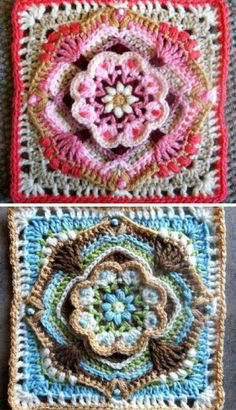 5 Beautiful and Free Crochet Mandala Square Patterns