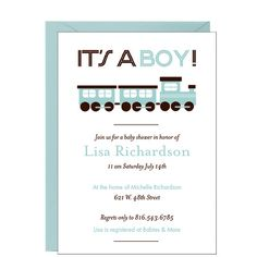 Celebrate the upcoming arrival of baby with this shower invitation detailed with deco-inspired lettering and choo-choo artwork.Printed on white 130 lb cover paper with a tactile vellum finish. Baby Party, Baby Shower Parties, Baby Boy Shower, Baby Showers, Invitation Paper, Baby Shower Invitations, Invites, Beautiful Baby Shower, Paper Source