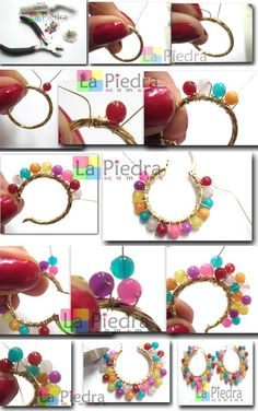 Paso a paso para hacer estos hermosos zarcillos. Best Picture For DIY Wire Earrings For Your Taste You are looking for something, and it is going to tell you exactly what you are looking for, and you Wire Wrapped Jewelry, Wire Jewelry, Jewelry Crafts, Beaded Jewelry, Jewelery, Diy Schmuck, Schmuck Design, Diy Necklace, Bead Earrings
