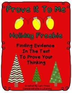 Prove It To Me Holiday is a way to introduce students to using clues the author gives in the text to understand what they are reading and to use these clues as evidence in their writing. The clues in these cards are easy to find and use as evidence since this is an introduction to this skill.