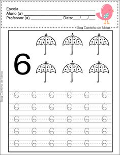 Blog sobre educação com dicas de atividades e compartilhamento de materiais. Kindergarten Math Games, Preschool Writing, Numbers Preschool, Learning Numbers, Preschool Curriculum, Kindergarten Worksheets, Preschool Activities, Alphabet Writing Worksheets, Nursery Worksheets