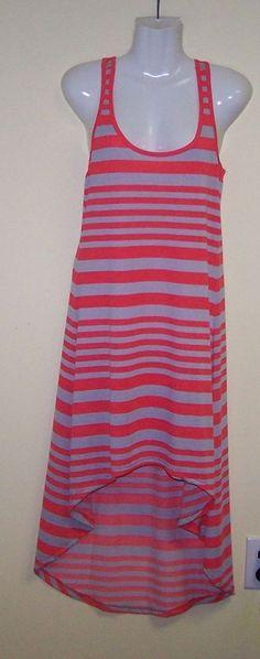 NWTChesley Dress Cute Halter Style Size M Gray/Orange Stripe  #Chesley #AsymmetricalHem #Casual