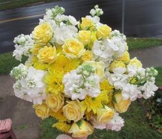 Click to view Yellow Cushion Mums, Yellow Mini Roses, and White Stock Bouquet