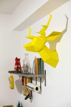 Foldeer Jaune - Origami Maquette de Tête de Cerf. €55 de60c8116b2