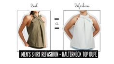 Men's Shirt Refashion | Halter Neck Top Dupe