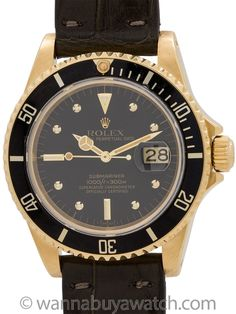 """Rolex Submariner ref 16808 18K YG Transitional model circa 1981 - Exceptional condition example transitional model Rolex 18K YG Submariner ref 16808, serial #6.7million, circa 1981. Extremely nice condition example of this classic early sapphire crystal model with beefy lugs case, sapphire crystal, beautiful condition original glossy black dial with gold applied rivet indexes (so called """"nipple"""" dial) and gilt Mercedes hands. Unidirectional elapsed time bezel with black insert. Powered by…"""