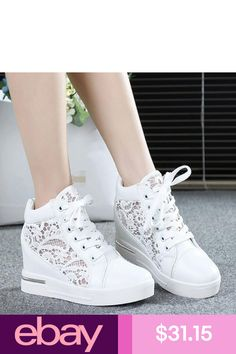 Womens Round Toe Hollow Platform Wedge Shoes Lace Up High Top Sneakers  Loafers in Clothing 14d93fa06