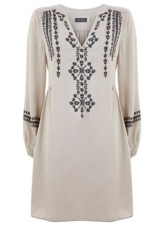 Shop the Shoot - Vanilla & Grey Embroidered Folk Dress Linen Dresses, Cute Dresses, Hijab Fashion, Fashion Dresses, Embroidery On Kurtis, Embroidered Clothes, Mode Hijab, Jumpsuit Dress, Diy Clothing