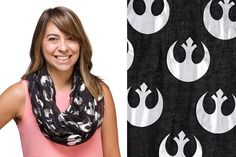 http://www.thekesselrunway.com/rebel-alliance-foil-print-infinity-scarf/ #thekesselrunway #starwarsfashion