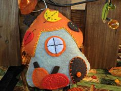 Autumn Gnome Cottage Felt Ornament by WildThymeThreads on Etsy