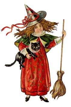 Free Download, Antique Halloween Image, Little Witch Girl with Cat, The Graphics Fairy, Visit the Site For More!