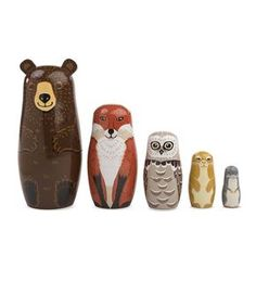 Woodland Nesting Set A whimsical take on the classic Russian nesting dolls, these critters are arranged from largest to smallest and feature beautiful painted details.