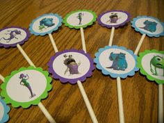 Monsters Inc Party Cupcake Toppers Picks-Made For You-Set of 12