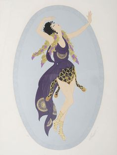 Serigraph entitled Bacchante by Erté. Framed serigraph depicting a woman with a purple and leopard skin outfit with a grapevine stole. ED 106/300.