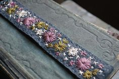 Felt Bracelet Cuff Hand Embroidered Grey Wool Felt by LoveMaude
