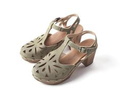 This vintage inspired, t-strap clog with laser cuts is so cute and comfortable. European sizing, fits true to size Suede leather upper Leather lining Padded fo Spring Sandals, T Strap, Suede Leather, Mary Janes, Clogs, Vintage Inspired, Nova, Products, Fashion