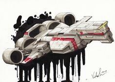 Spaceship inspired by the republic cruiser from star wars episode Rotring mecanical pencil, copic markers, verithin pencils, liquid copic ink on letraset marker paper Star Wars Rpg, Star Wars Ships, Star Citizen, Republic Cruiser, Edge Of The Empire, Star Wars Spaceships, Starship Concept, Star Wars Design, Star Wars Vehicles