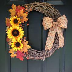 Fall Sunflower Vine Wreath, Sunflower Wreath, Vine Wreath, Fall Wreath, Autumn Wreath