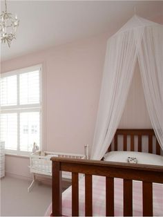 An inspirational image from Farrow and Ball. Girl's bedroom painted in Calamine Estate Emulsion. Farrow Ball, Farrow And Ball Paint, Childrens Bedroom Decor, Pastel Interior, Girls Bedroom, Bedroom Ideas, Nursery Ideas, Pink Room, Houses
