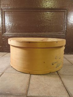 Large round wood Wisconsin cheese box- solid, lid included, rustic, great storage and home décor by HeathersCollectibles on Etsy