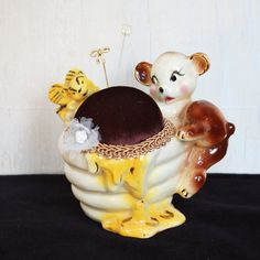 Honey Pot Pin Cushion Vintage and Upcycled by SoDearDesigns,