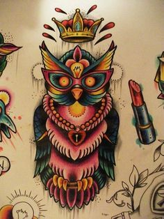 I absolutely adore colorful tattoos!! ...again with the birds..