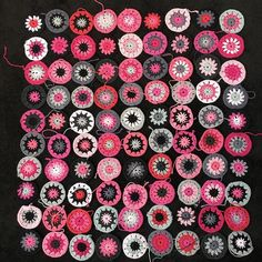 90 x 3 round circles completed except for ends. I think I have enough yarn left for another 50-60 more  #crochet #circle #circles #crochetcircle #crochetcircles #wip #crochetwip #throw #crochetthrow #pink #grey #black #flowersinthesnow #instacrochet #crochetersofig #crochetersofinstagram #dropsloveyou5 #dropsparis #dropscotton #ricocotton #ricodesign #ricocreativecotton #iceyarn #iceyarns #babycotton #cotton #cottonyarn #cottonaran #aranyarn #rowan by gemandtilly
