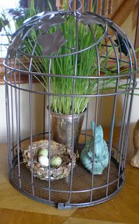 Sweetwater Style: Use What I've Got Easter Decor Easter Flower Arrangements, Floral Arrangements, Seasonal Decor, Holiday Decor, Bird Cages, Bird Nests, Jar Art, Decoration Table, Decorations