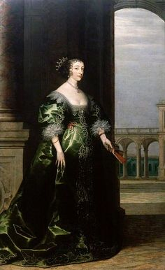 Queen Henrietta Maria of France, Consort of King Charles I of Daniel Mytens the Elder(Saffron Walden Town Council-Dorchester,Dorset UK).This work is based on a previous work by Daniel Meytens the Elder. Roi Charles, King Charles, Henrietta Maria, House Of Stuart, 17th Century Fashion, Moda Retro, National Portrait Gallery, Glamour, Art Uk