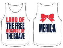 "Land of the Free because of the Brave Tank. ""Merica"" Tank. $25.00  KMSS new summer line.   Contact me at CatherineSmith.KMSSrep@gmail.com with questions or to order; put Catherine Smith as the rep that helped you."