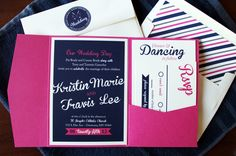 Navy blue and pink wedding invitation with pocket and matching envelope!