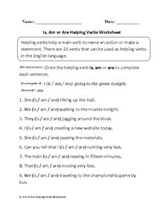 Verbs Worksheet Grammar Helping Verb Past and Present-Tense ...
