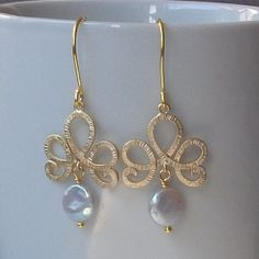 Pearl Gold Dangle Fashion Earrings Pearl Gold by PeriniDesigns, $28.00