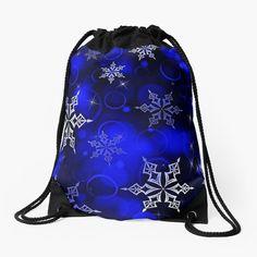 """Royal Blue Snowflake Motif"" Drawstring Bag by HavenDesign   Redbubble Christmas Themes, Christmas Gifts, Backpack Bags, Tote Bag, Drawstring Bags, Woven Fabric, Color Patterns, Snowflakes"