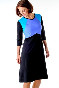 3/4 Sleeve Colorblock Swim Dress & Coverup