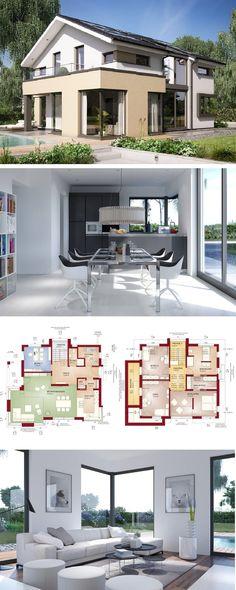Modernes Design Haus mit Satteldach - Einfamilienhaus Concept-M 153 Bien Zenker - Fertighaus bauen Grundriss offene Küche Erker bodentiefe Fenster - HausbauDirekt.de