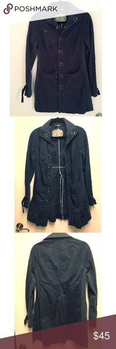 Free people blue jacket size small Free people navy utility military style long jacket worn only twice. Size small. Perfect condition Free People Jackets & Coats Utility Jackets