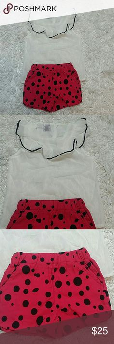 Leighton Alexander Hot Pink Polka Dots. Kids. Adorable 2 pc set of white top and hot pink shorts with black polka dots.   Very cute item.  This item is brand new and never used.?? with tags. Leighton Alexander  Matching Sets