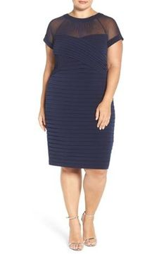 A sheer-illusion sweetheart yoke with shirring makes a sultry start to a cocktail dress that bands your curves to perfection with shutter-pleated jersey. Color(s): navy. Brand: LONDON TIMES. Style Name: London Times Shutter Pleat Sheath Dress (Plus $118.00 by nordstrom