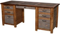 Natural Barnwood Executive Desk. Made of reclaimed, treated, and finished old wood from barns and other structures. $1,885