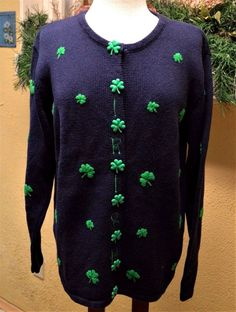 fa63c2d451 Quacker Factory M IRISH Shamrock Cardigan Sweater Navy Green St Patrick s  Day  QuackerFactory