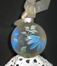 Hand Painted Ornaments Shabby Blue Asters by RosemarysHomestead