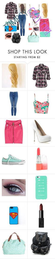 """""""Tomboy vs. Girly Girl"""" by theelephantwhisperer ❤ liked on Polyvore featuring Frame, Moschino, Converse, NARS Cosmetics and Disaster Designs"""