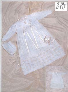 Knit Baby Christening Dress Crossover Bonnet Booties Vintage knitting Pattern pullover romper beanie socks jumper pdf digital download